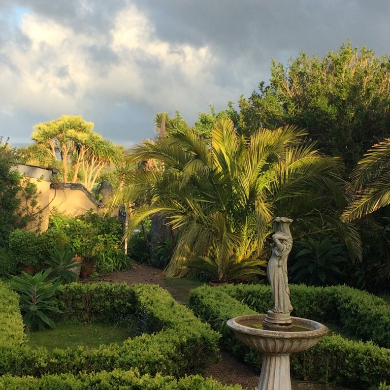 Sub tropical courtyard gardens at Ednovean Farm - Date Palms parterre and fountain