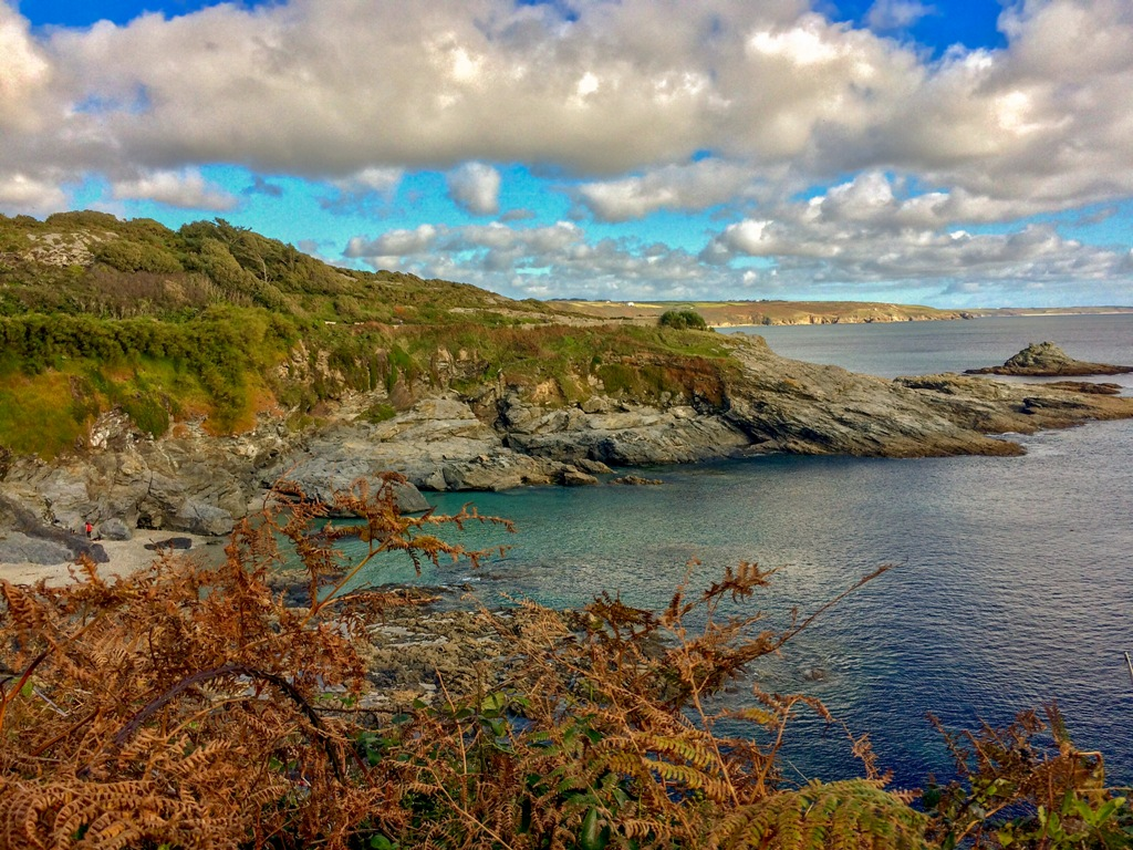 Spectacular autumn view across Mounts Bay to the Lizard from Prussia Cove