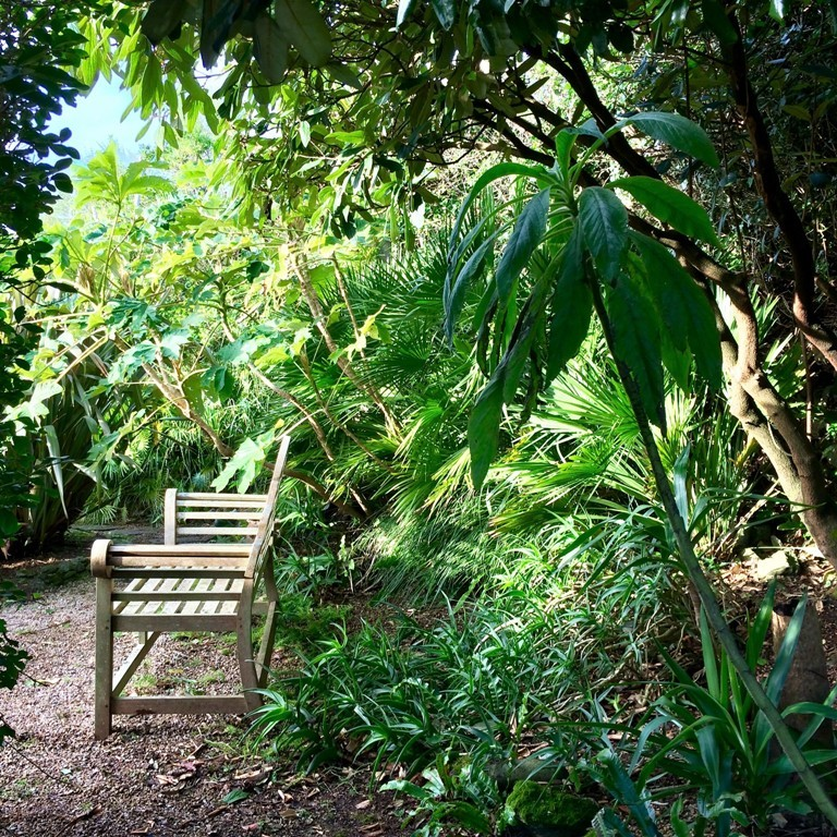 Garden Pathways lead to secluded spots at Ednovean Farm