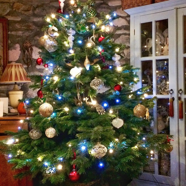 Traditional Christmas tree in a period home - a Christmas card