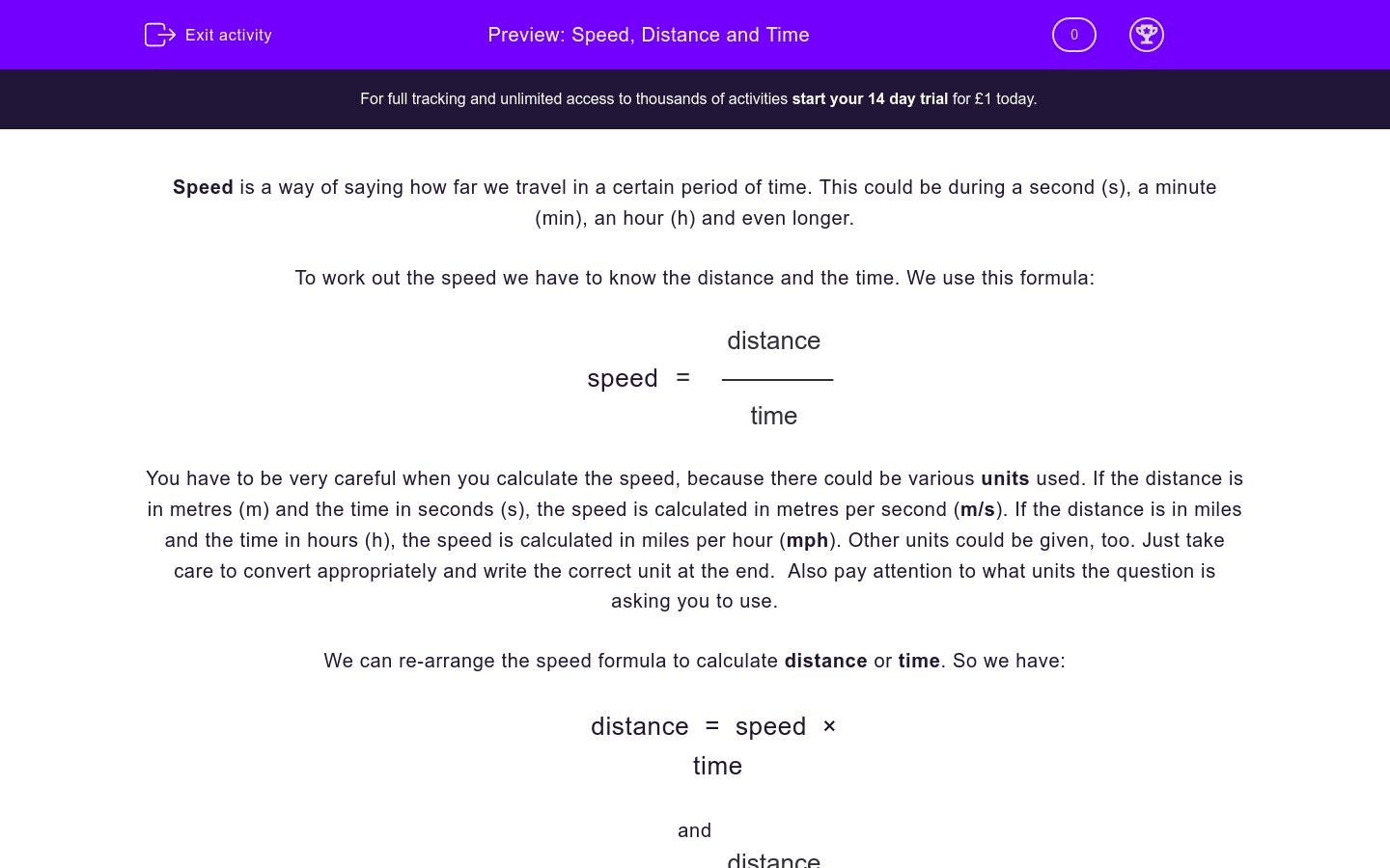 Speed Distance And Time Worksheet