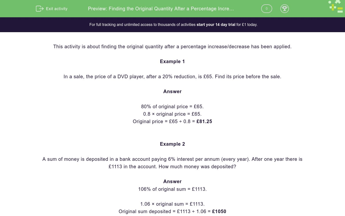 Finding The Original Quantity After A Percentage Increase