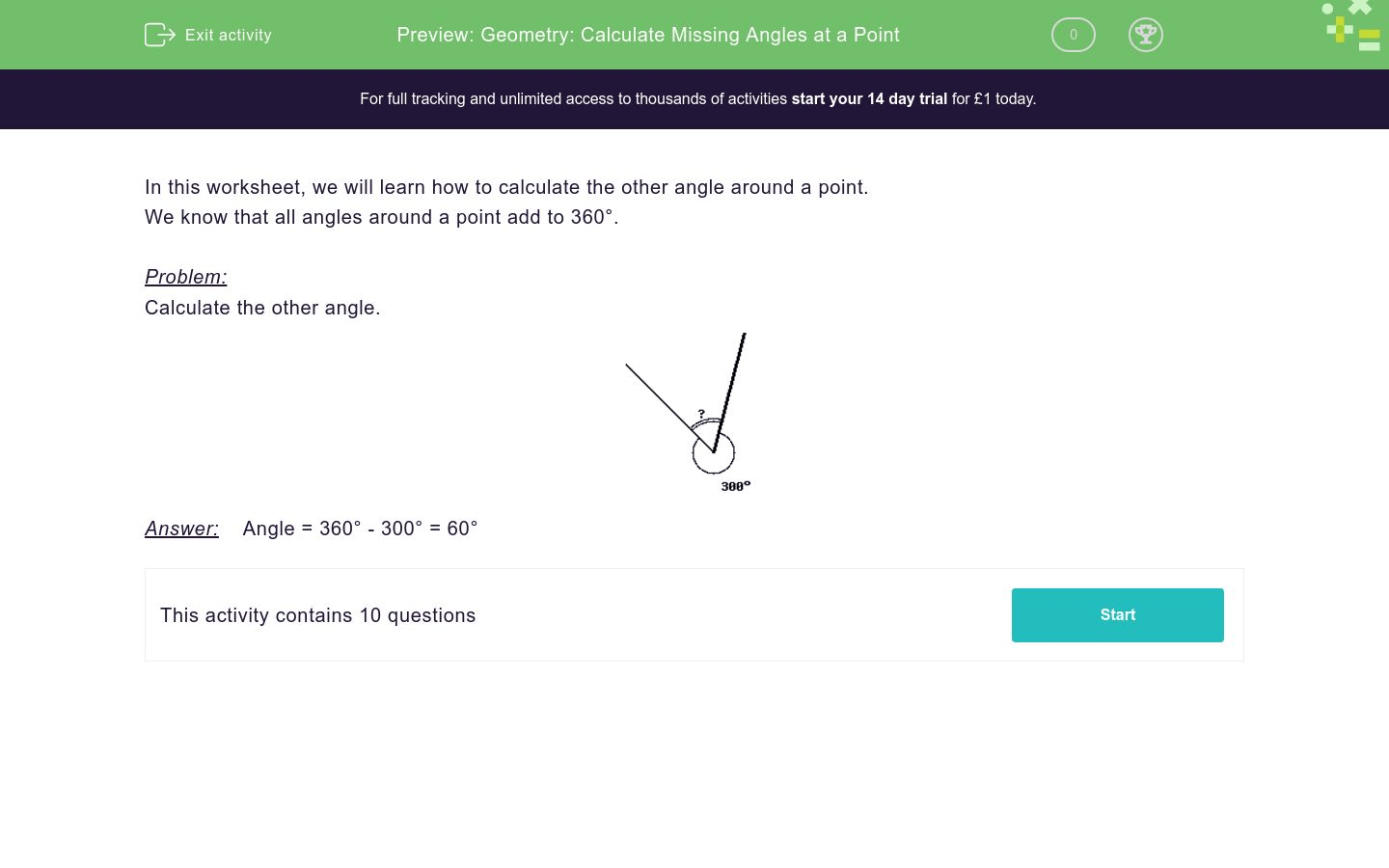 Geometry Calculate Missing Angles At A Point Worksheet