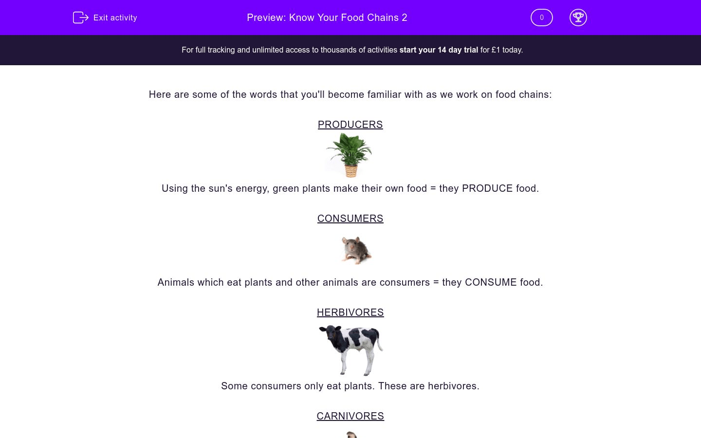 Know Your Food Chains 2 Worksheet