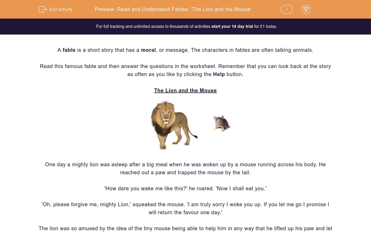Read And Understand Fables The Lion And The Mouse