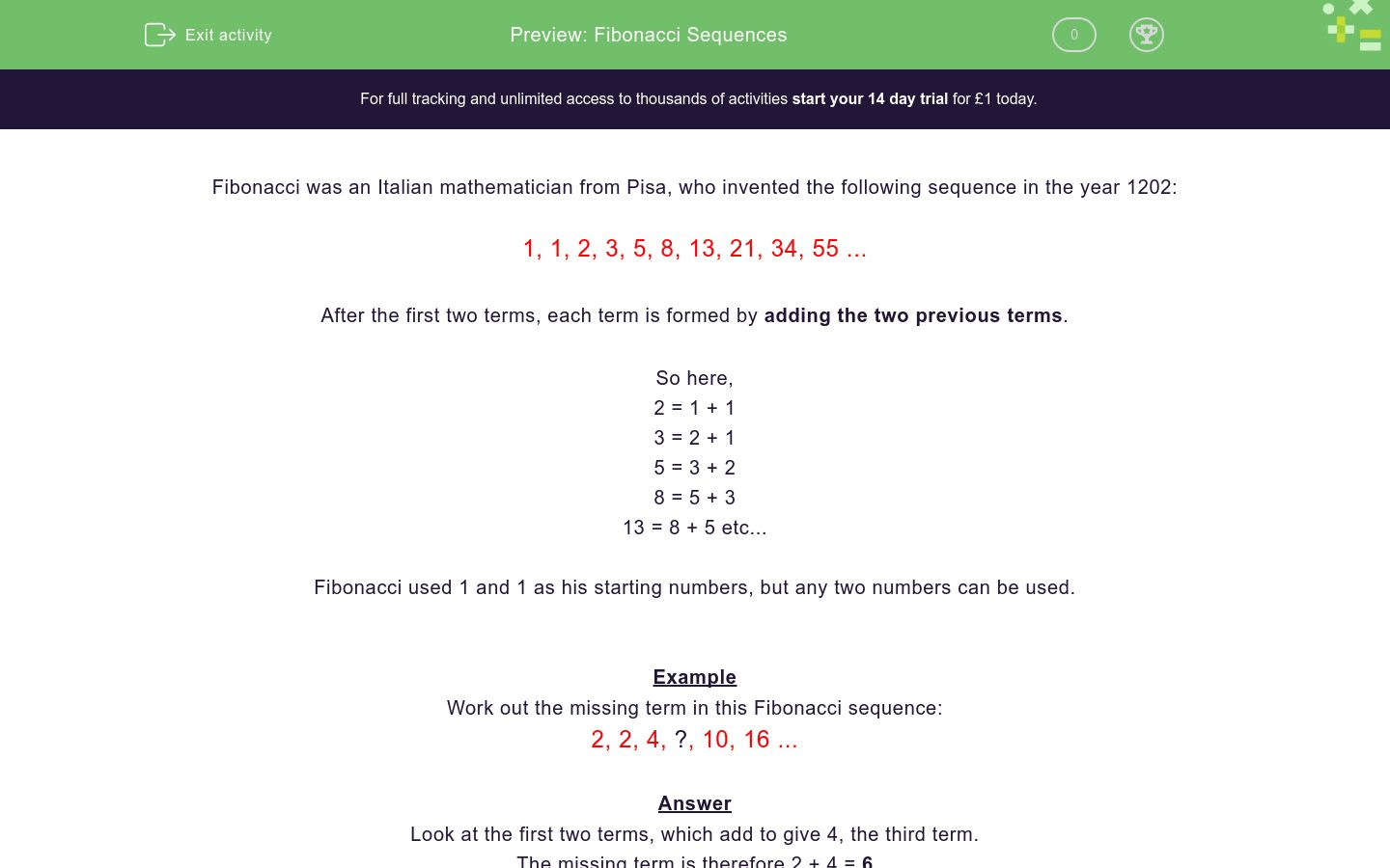 Fibonacci Sequences Worksheet