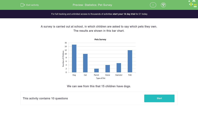 Statistics Pet Survey Worksheet