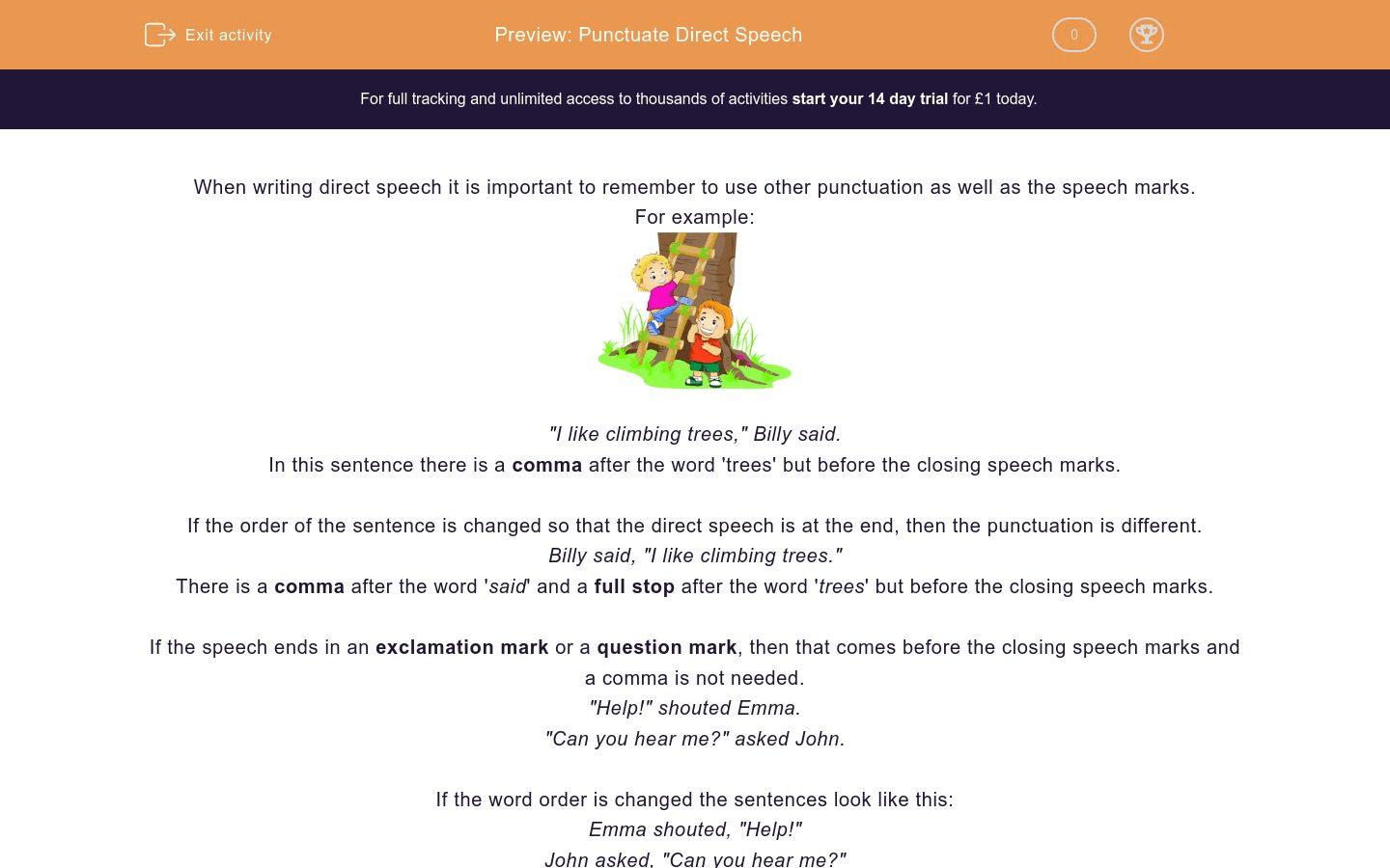 Punctuate Direct Speech Worksheet
