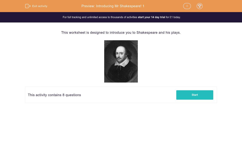 Introducing Mr Shakespeare 1 Worksheet