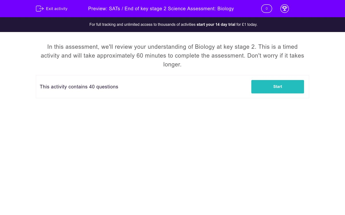 Sats End Of Key Stage 2 Science Assessment Biology Worksheet