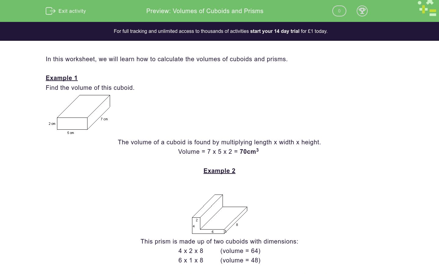 Volumes Of Cuboids And Prisms Worksheet