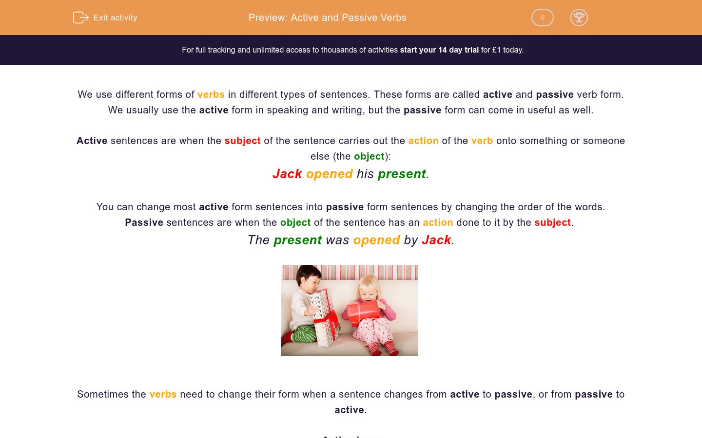 Active And Passive Verbs Worksheet