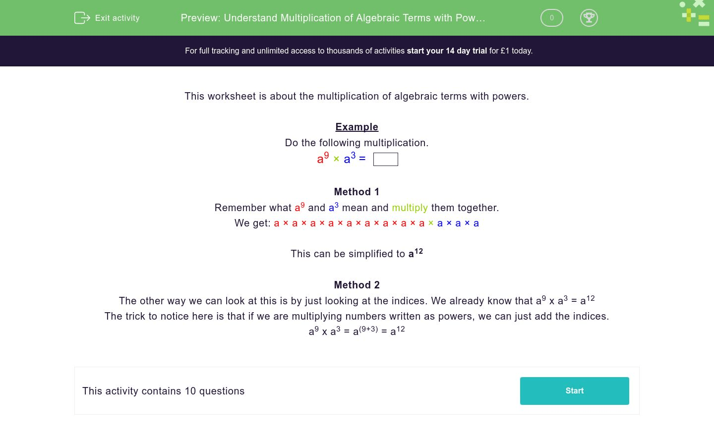 Understand Multiplication Of Algebraic Terms With Powers