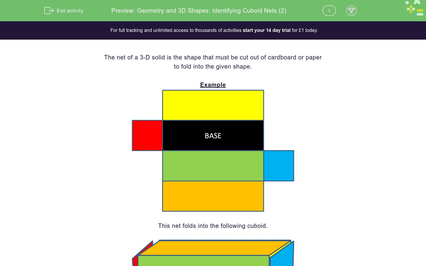 Geometry And 3d Shapes Identifying Cuboid Nets 2 Worksheet