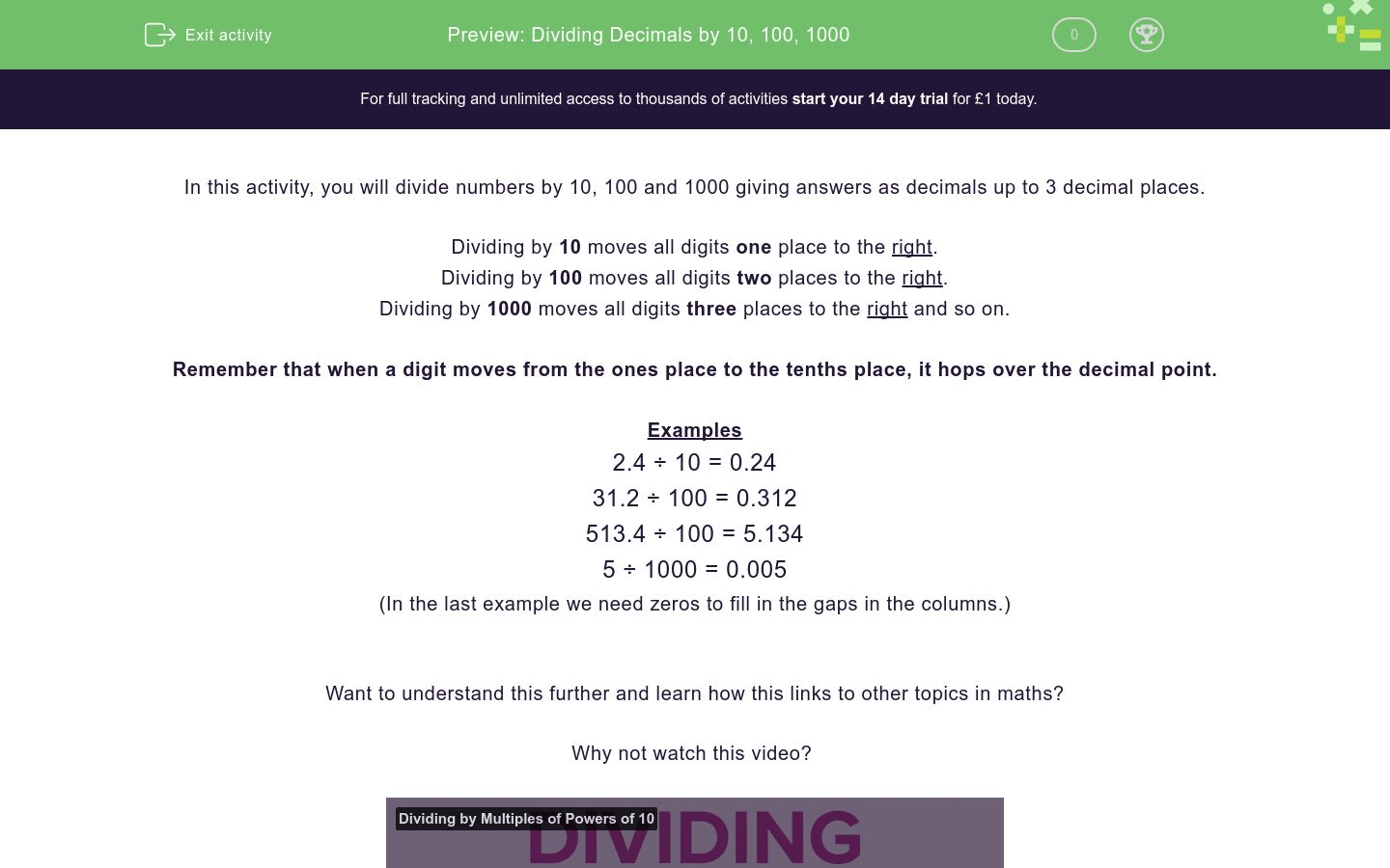 Dividing Decimals By 10 100 Worksheet