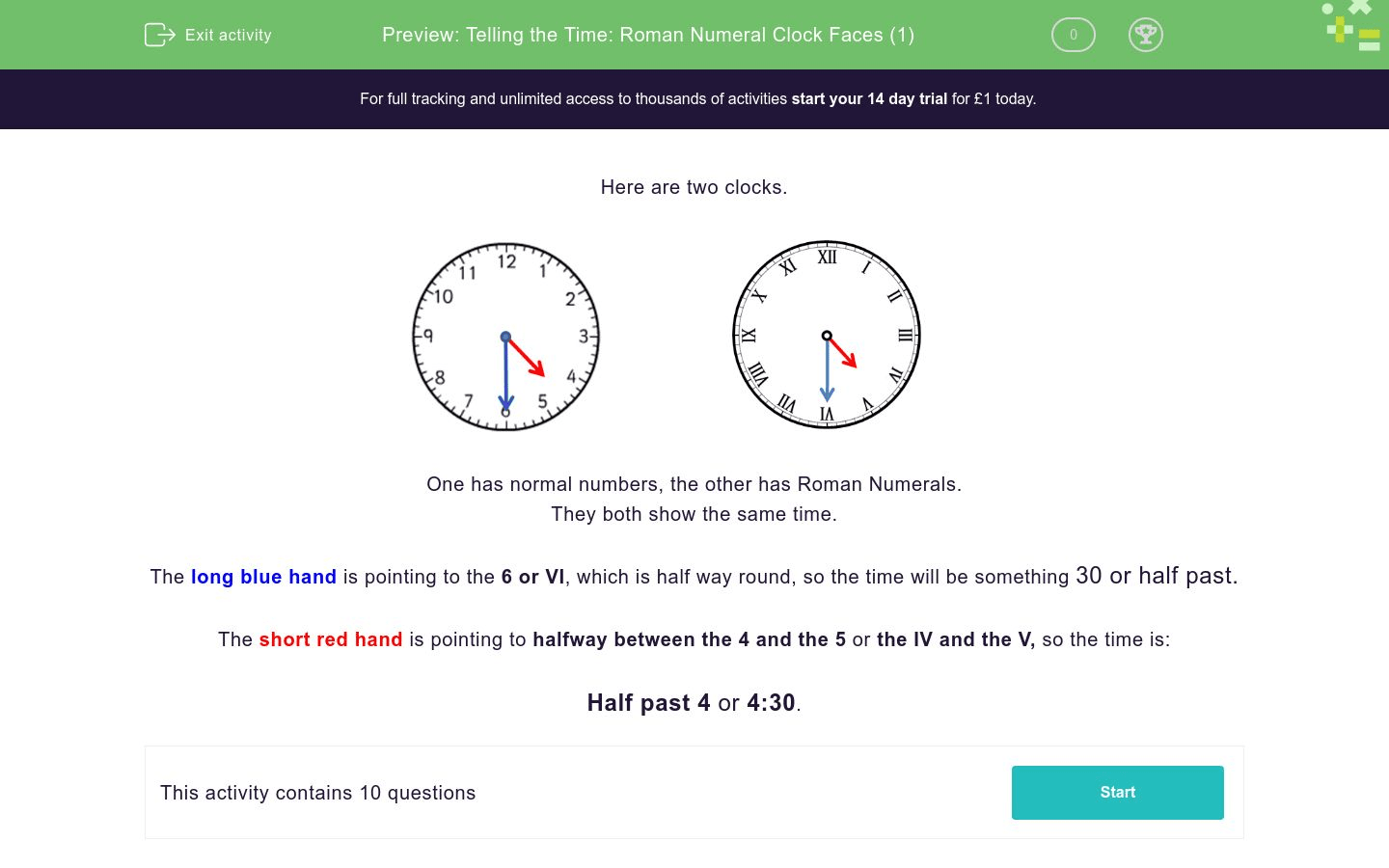 Telling The Time Roman Numeral Clock Faces 1 Worksheet