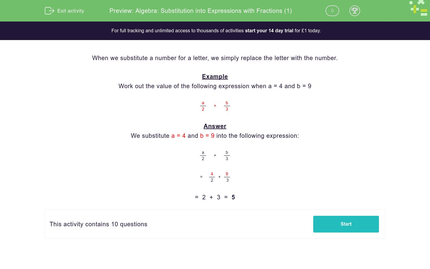 Algebra Substitution Into Expressions With Fractions 1
