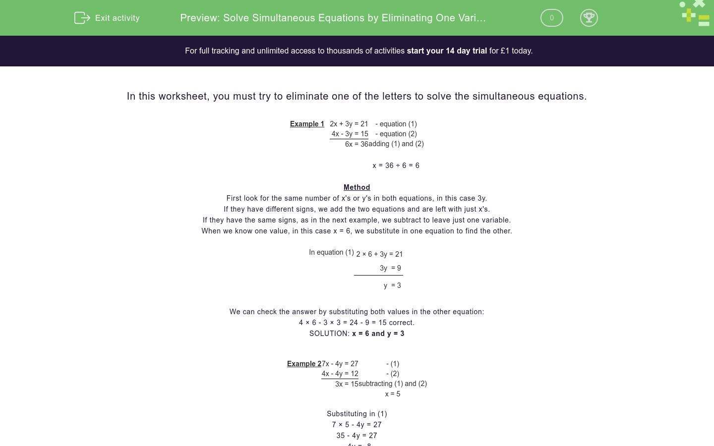 How To Solve 2 Variable Equations
