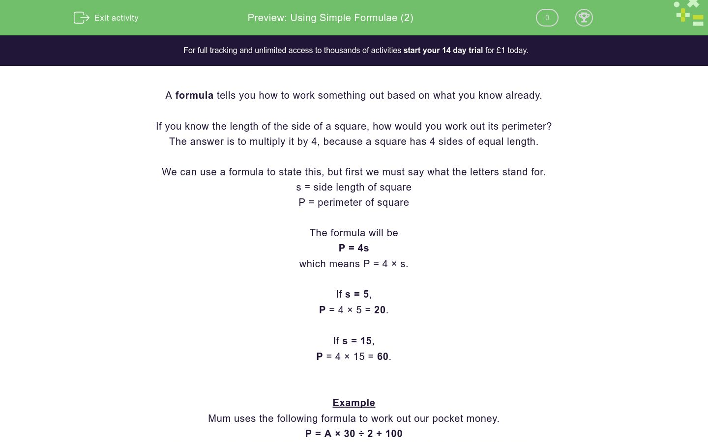 Using Simple Formulae 2 Worksheet