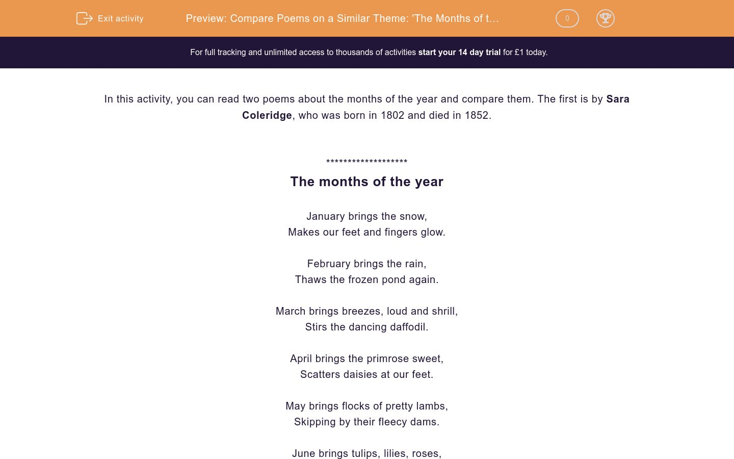 Compare Poems On A Similar Theme The Months Of The Year