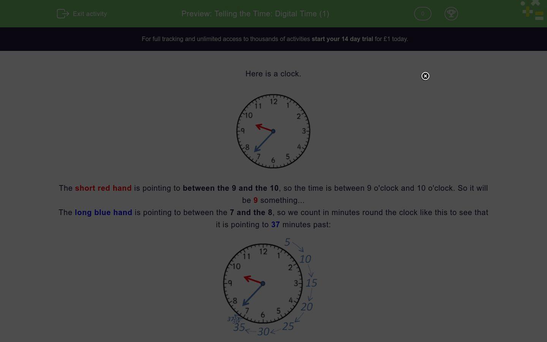 Telling The Time Digital Time 1 Worksheet