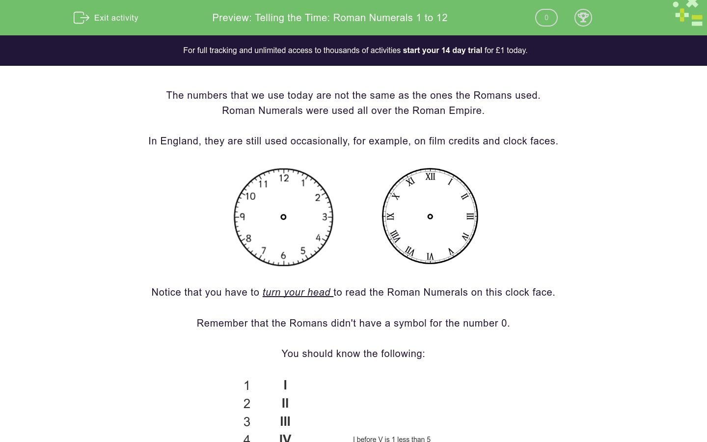 Telling The Time Roman Numerals 1 To 12 Worksheet