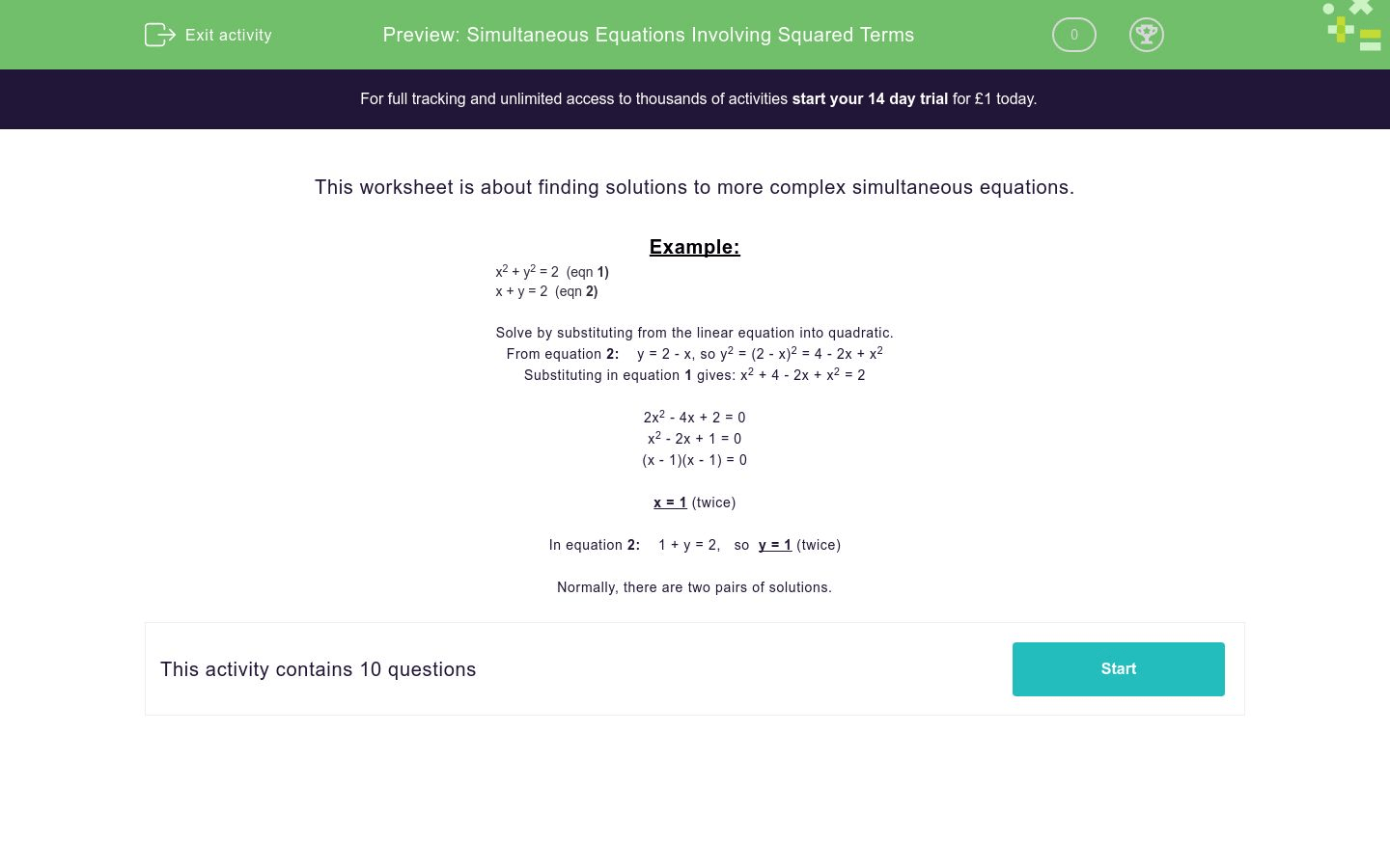 Simultaneous Equations Involving Squared Terms Worksheet