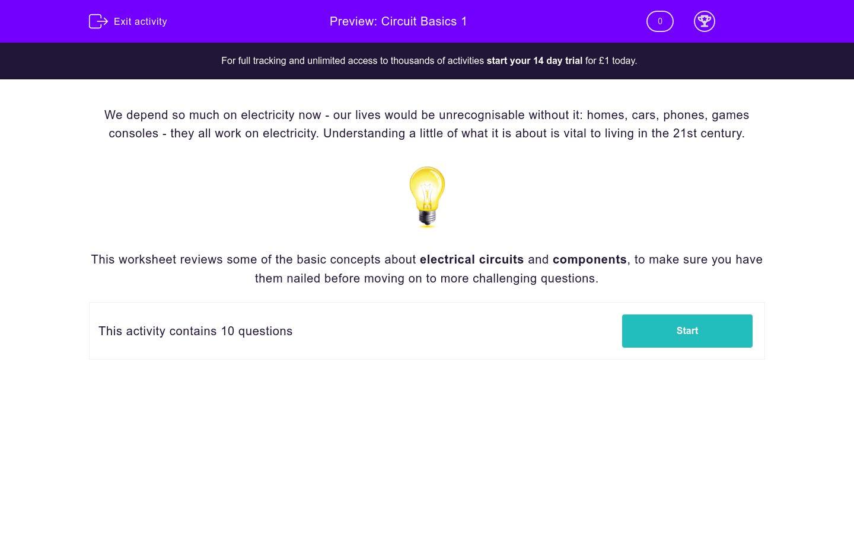 Circuit Basics 1 Worksheet