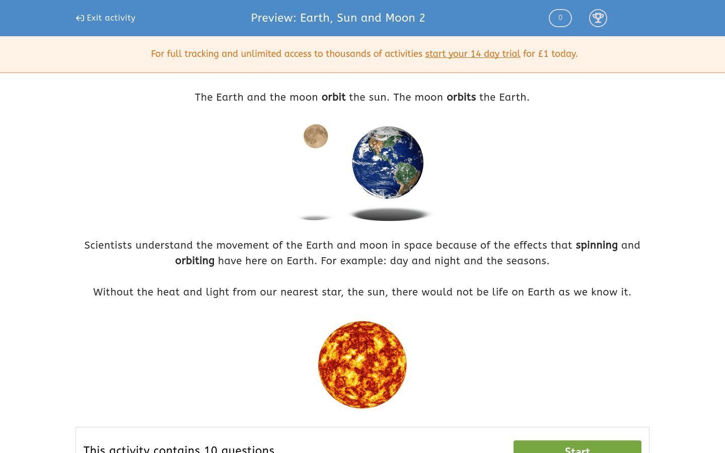 Earth Sun And Moon 2 Worksheet
