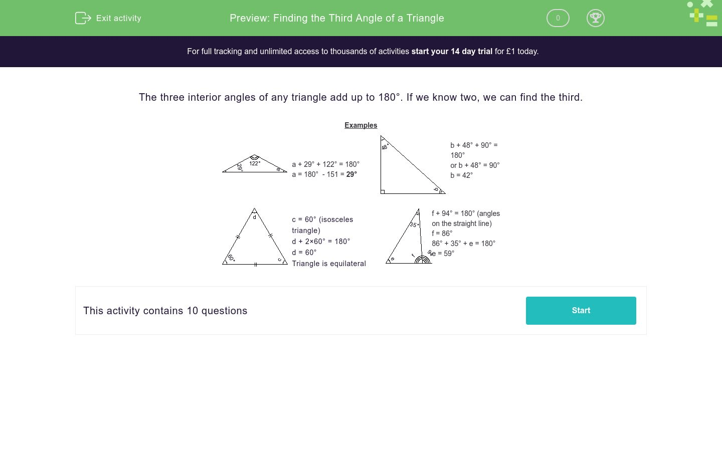 Finding The Third Angle Of A Triangle Worksheet