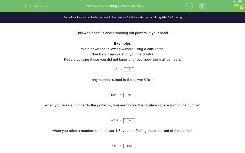 Calculating Powers Mentally Worksheet