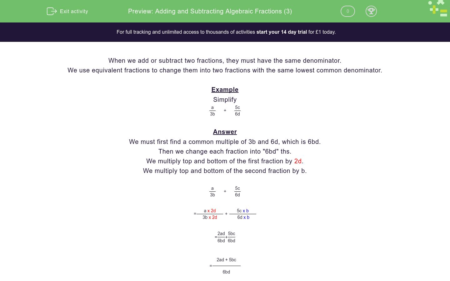Adding And Subtracting Algebraic Fractions 3 Worksheet