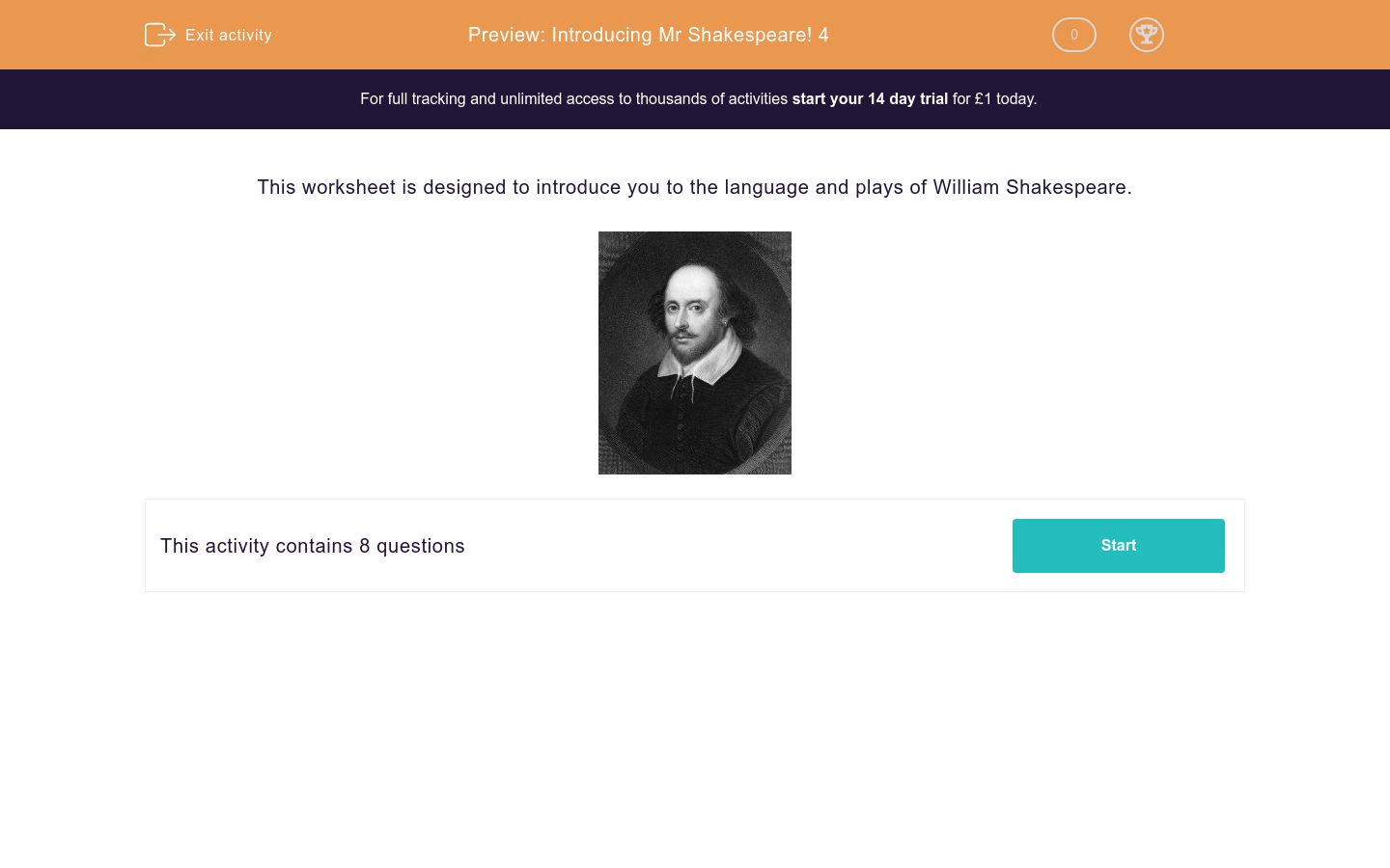 Introducing Mr Shakespeare 4 Worksheet