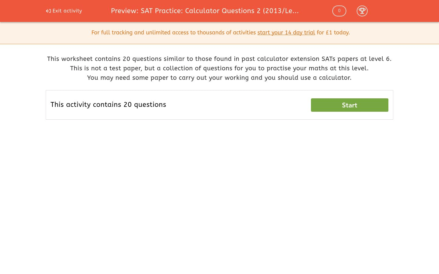 Sat Practice Calculator Questions 2 Level 6 Worksheet