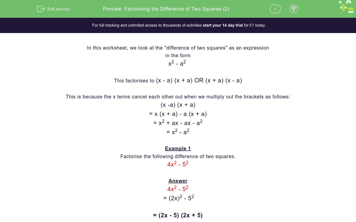 Factorising The Difference Of Two Squares 2 Worksheet