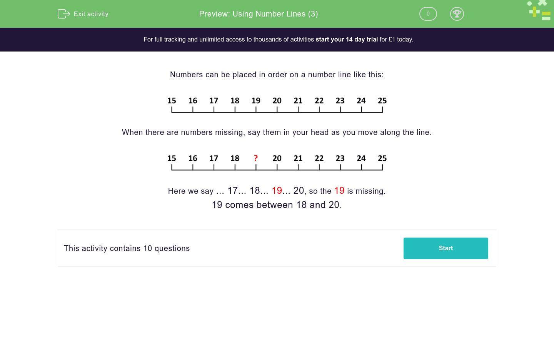 Using Number Lines 3 Worksheet