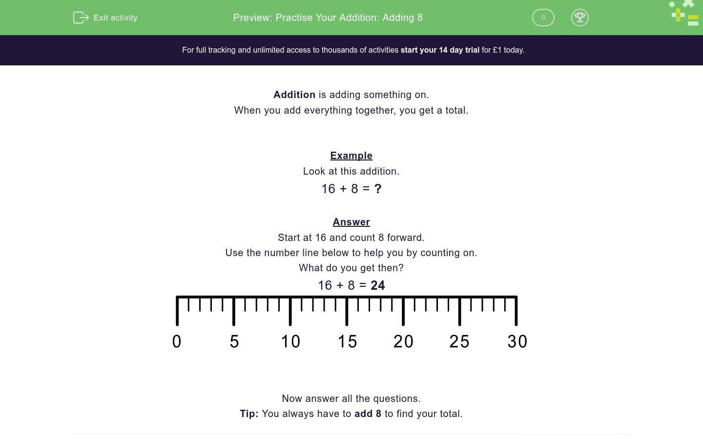 Practise Your Addition Adding 8 Worksheet