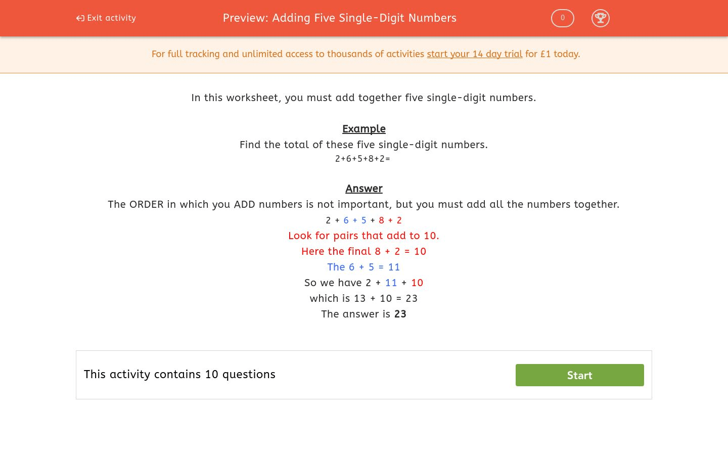 Adding Five Single Digit Numbers Worksheet