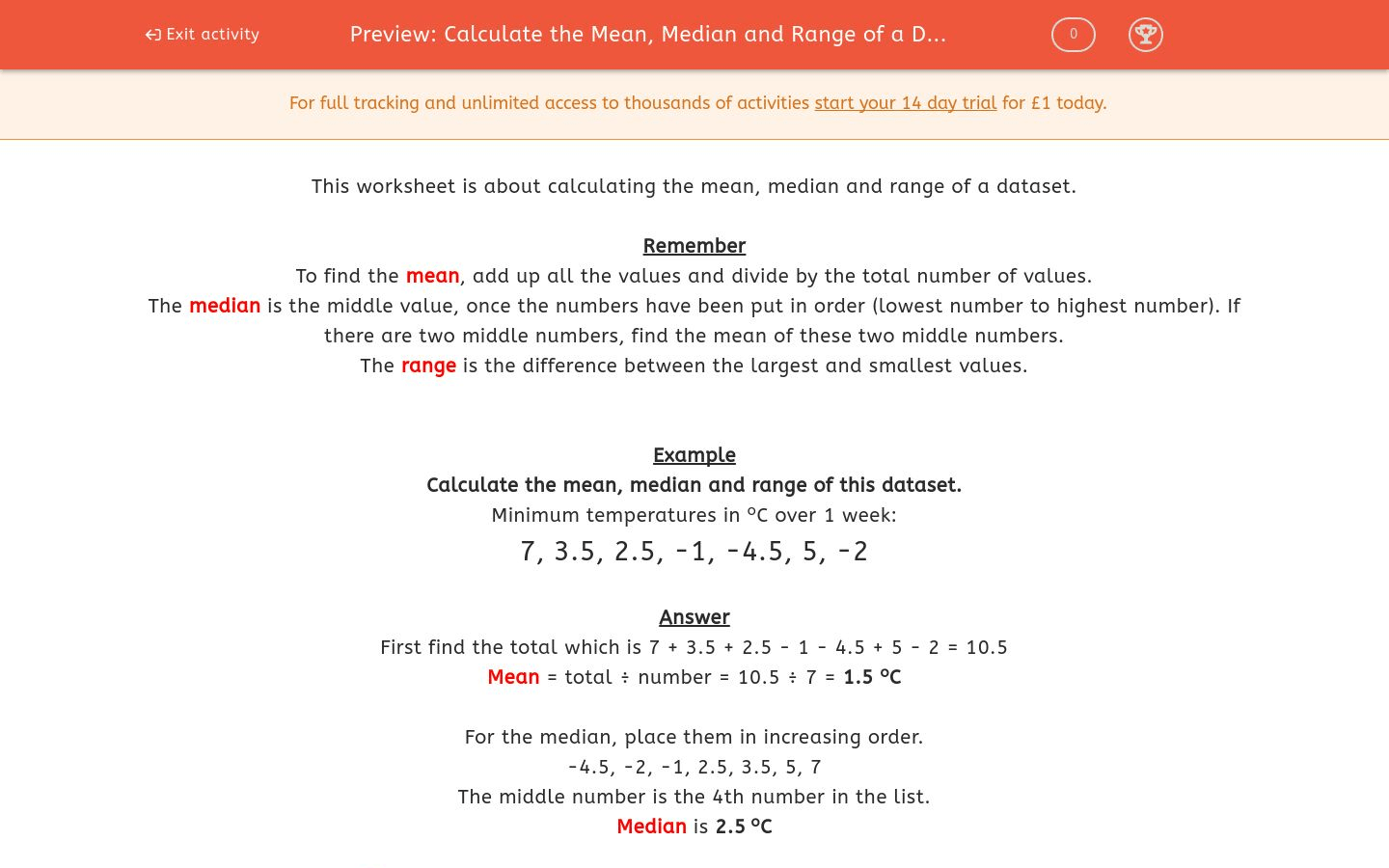 Calculate The Mean Median And Range Of A Dataset 2
