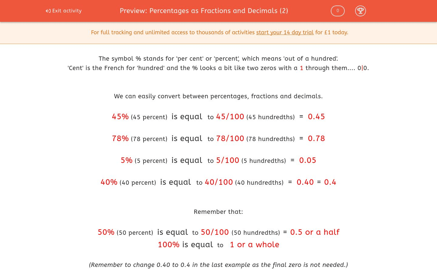 Percentages As Fractions And Decimals 2 Worksheet