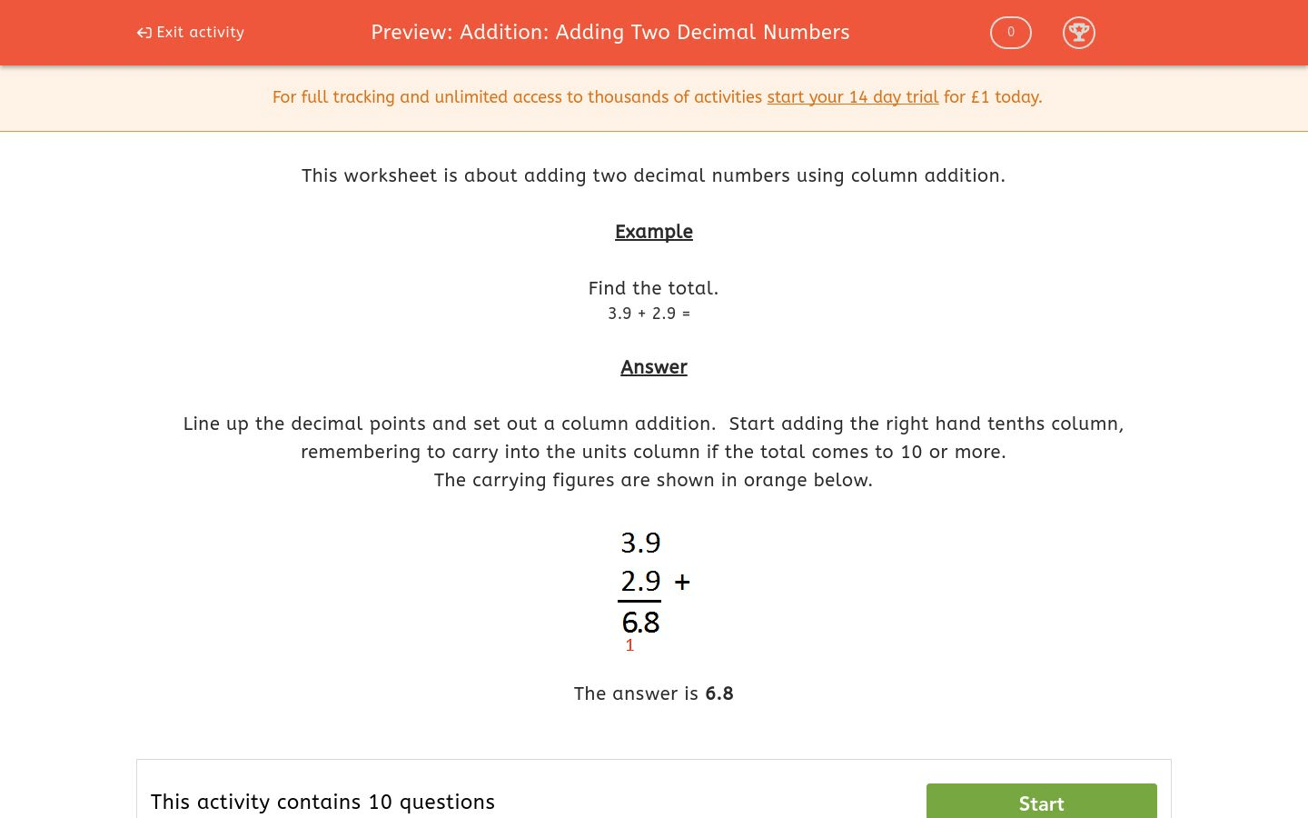 Addition Adding Two Decimal Numbers Worksheet