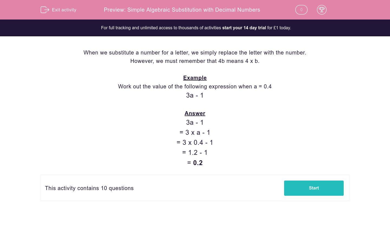 Simple Algebraic Substitution With Decimal Numbers