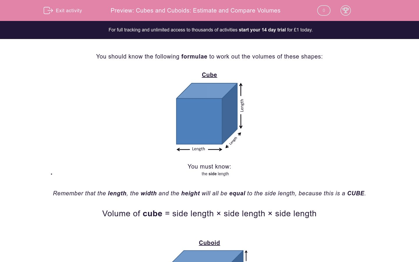 Cubes And Cuboids Estimate And Compare Volumes Worksheet