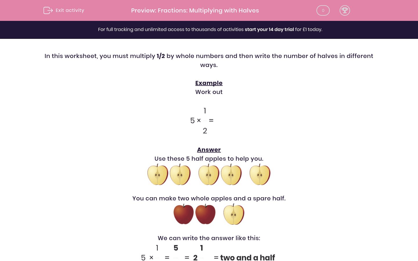 Fractions Multiplying With Halves Worksheet