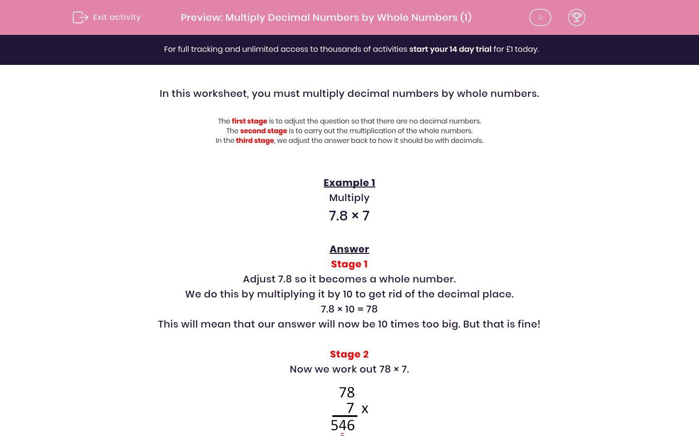 Multiply Decimal Numbers By Whole Numbers 1 Worksheet