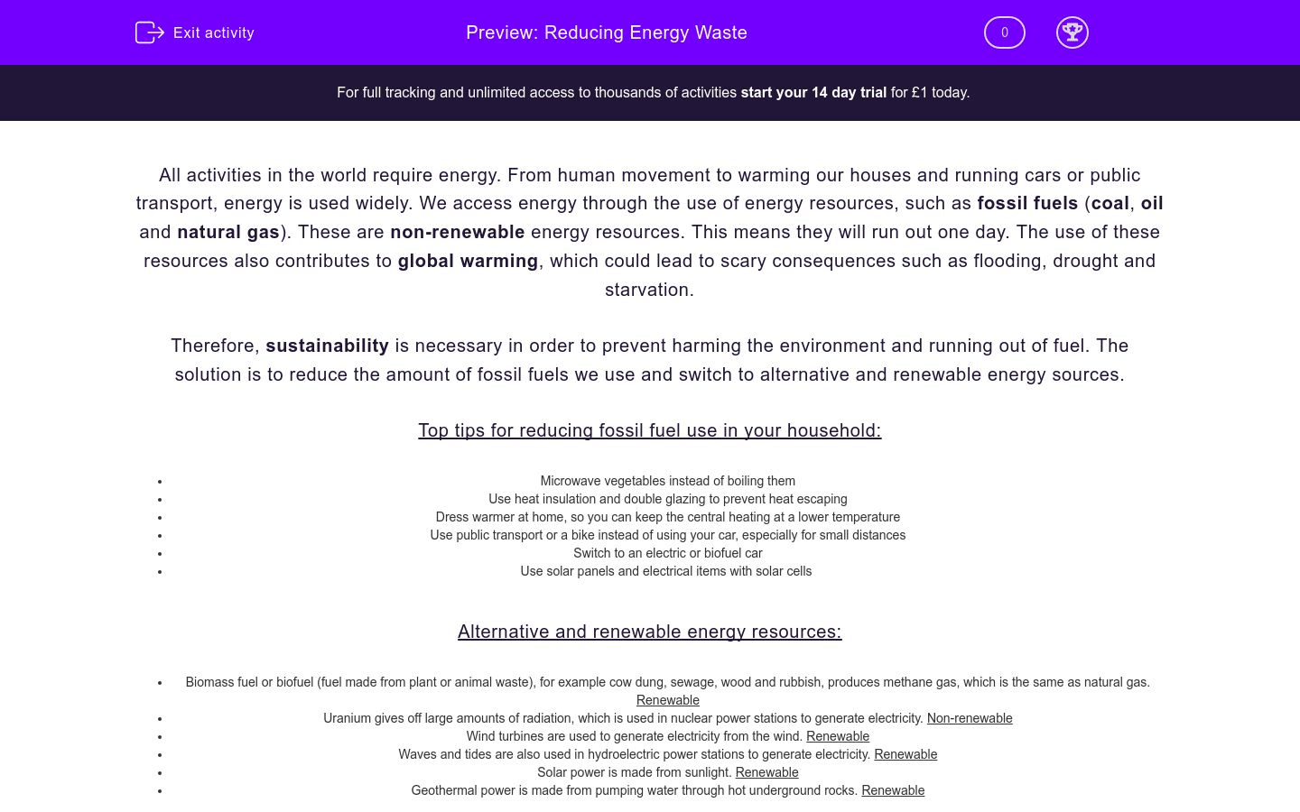 Reducing Energy Waste Worksheet
