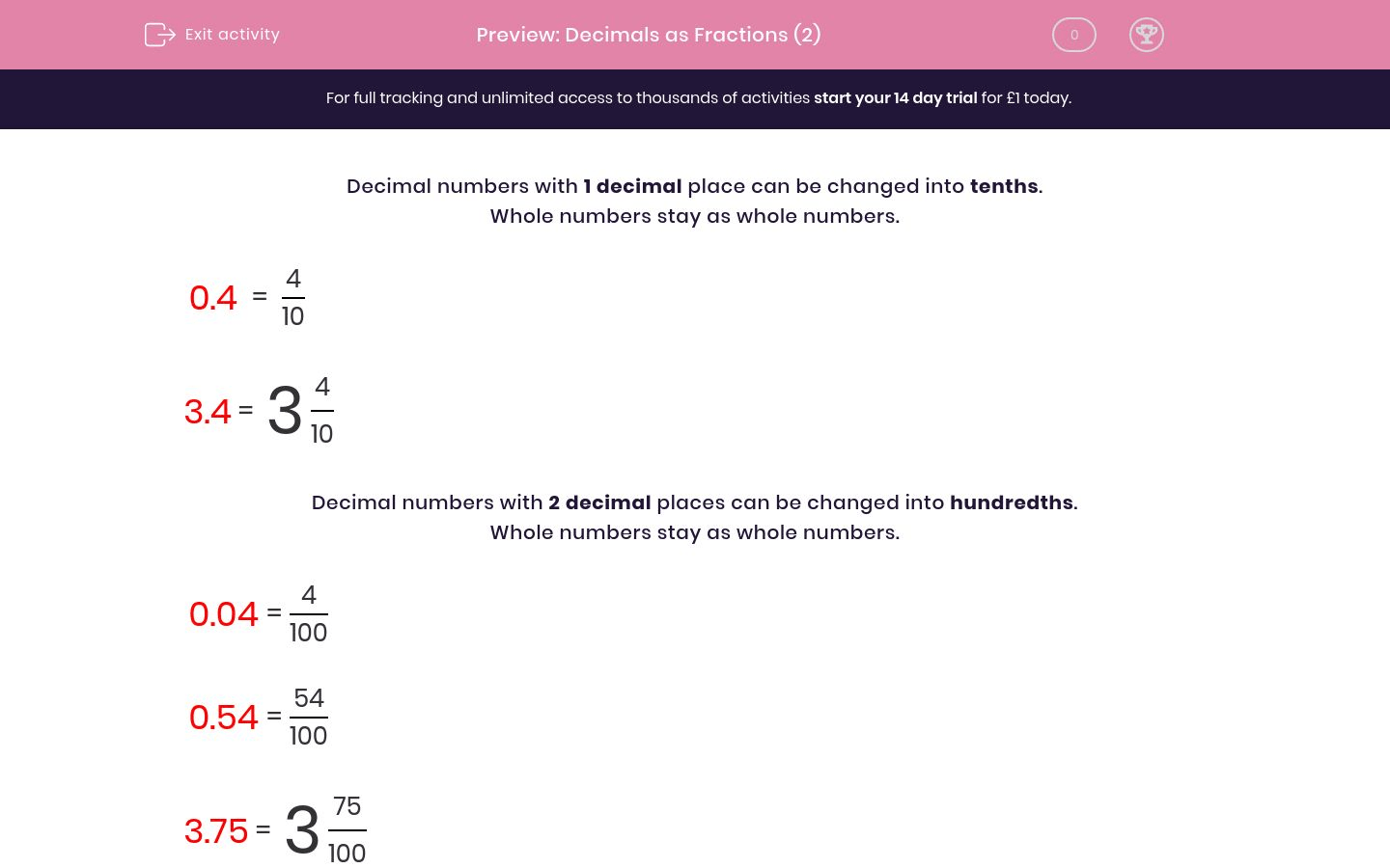 Decimals As Fractions 2 Worksheet