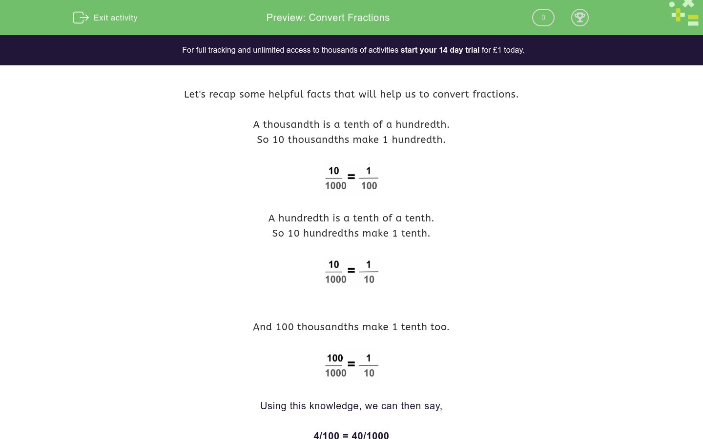 Convert Fractions Worksheet