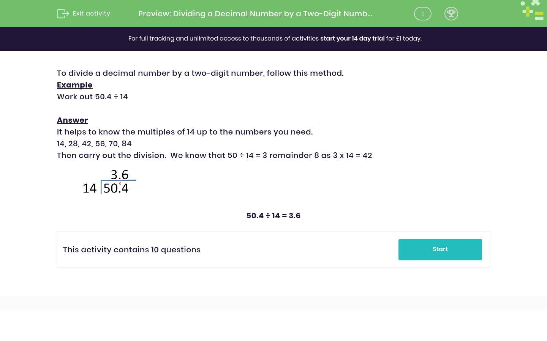 Dividing A Decimal Number By A Two Digit Number Worksheet