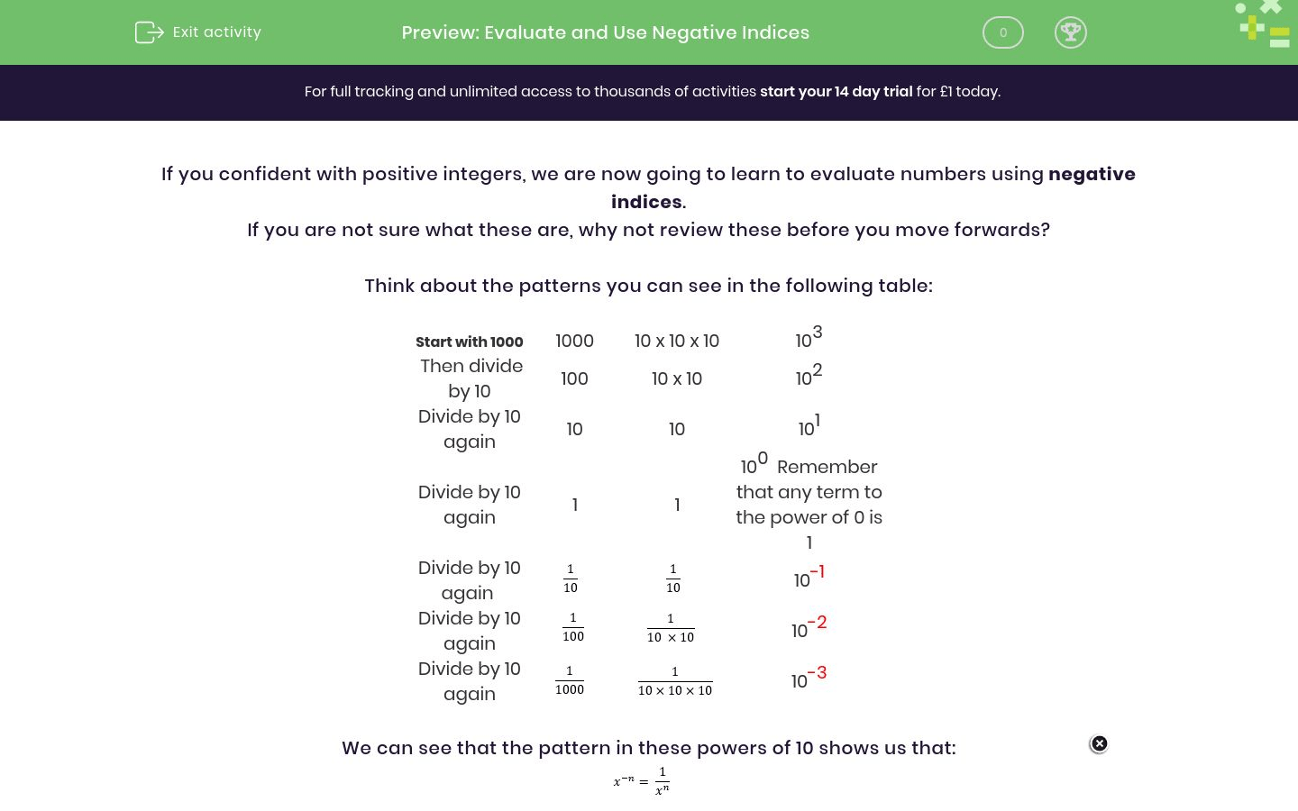 Evaluate And Use Negative Indices Worksheet
